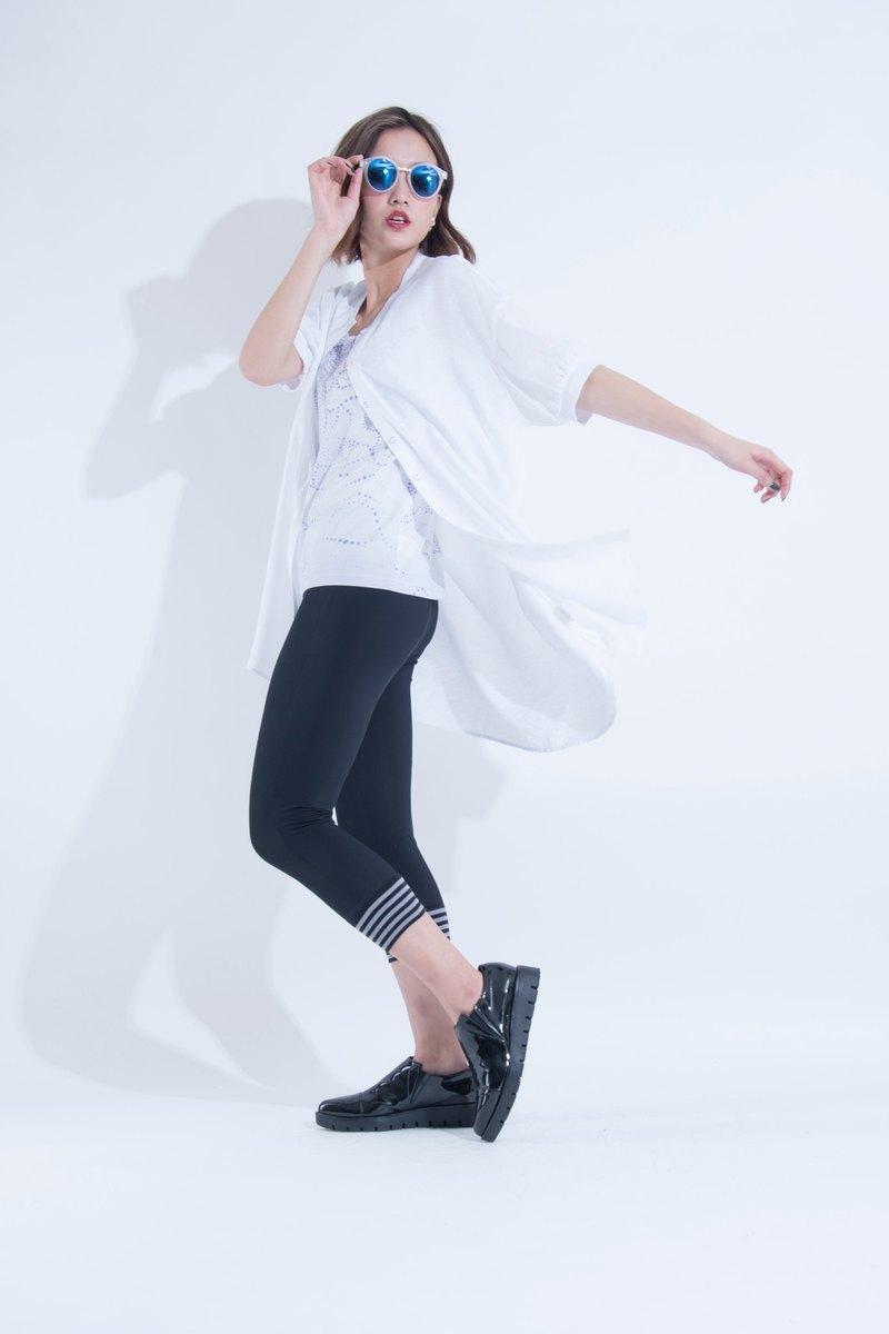 aineann / 紋理輕透長版外罩襯衫 - 白