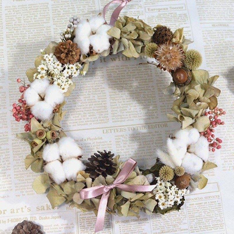 乾燥花圈-繡球棉花糖
