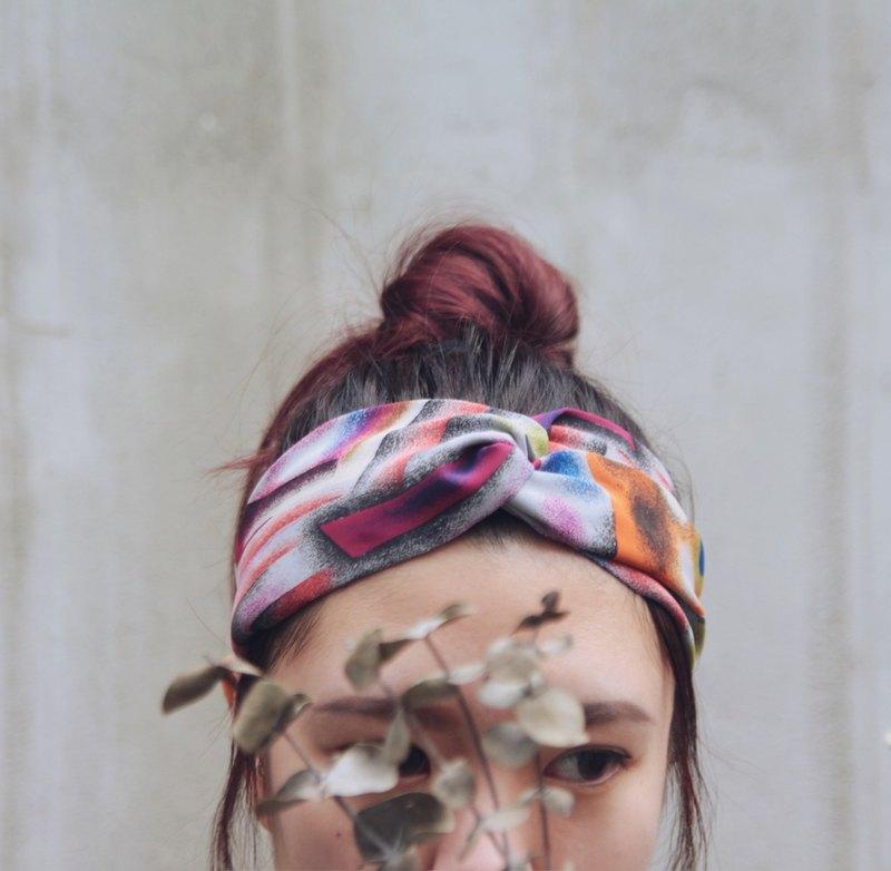 粉紅的粉彩畫 絲綢布 手工十字鬆緊髮帶