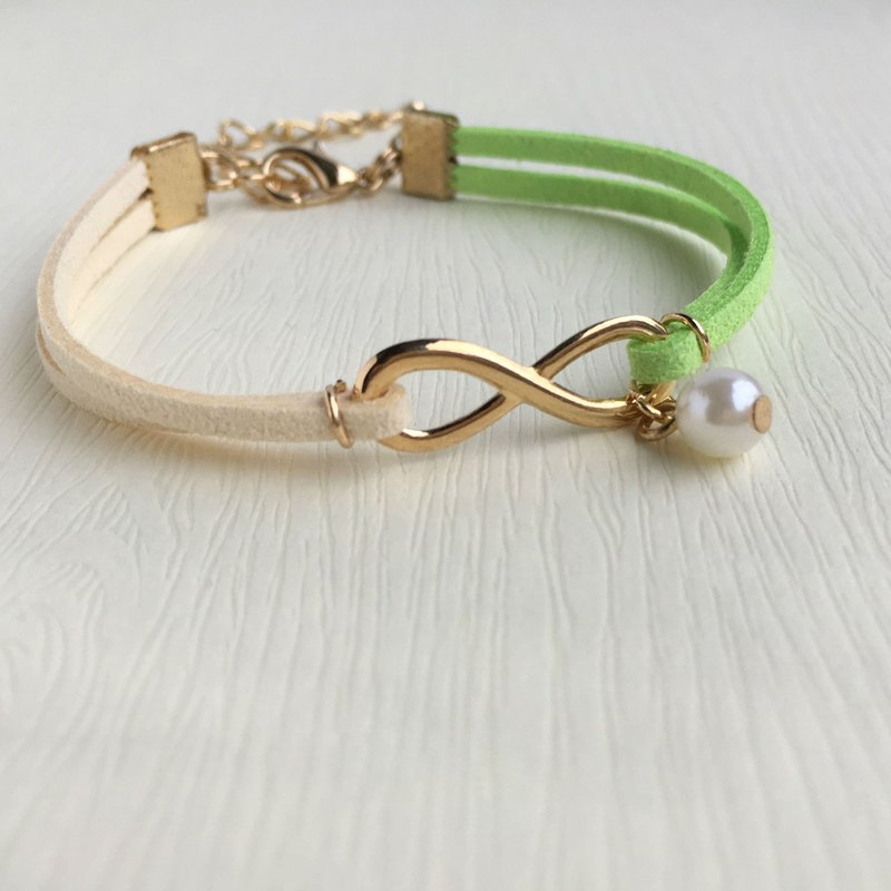 Infinity 永恆 手工製作 手環 淡金色系列-青草綠 限量