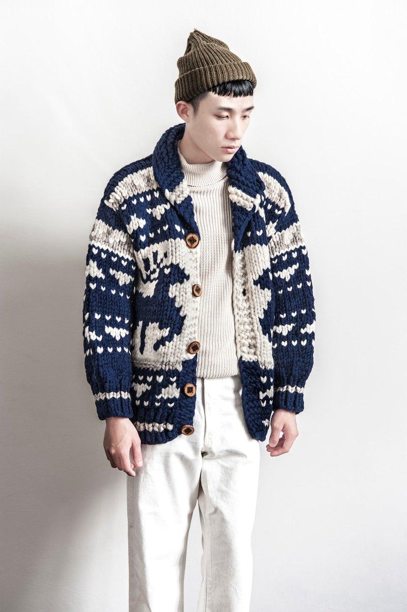 Vintage Cowichan HAND MADE 特殊色!特殊款!巨大馴鹿頭圖騰設計厚實加拿大考津毛衣外套