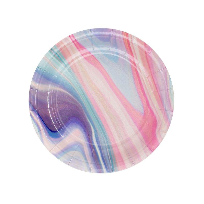 派對紙盤 粉毛衣渲染7吋圓盤
