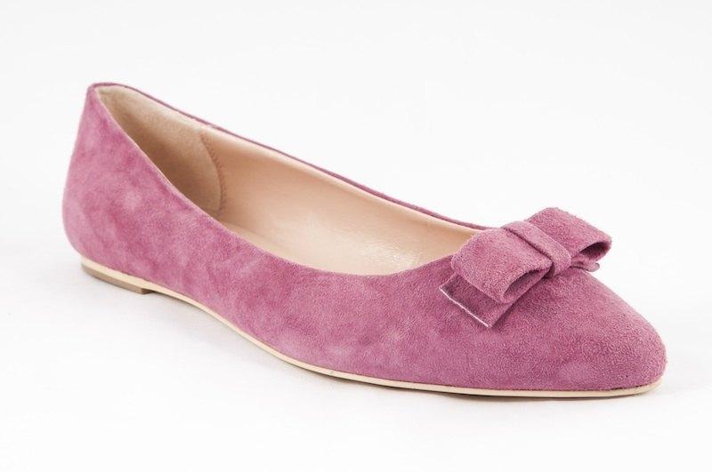 Coco-002m-08 蜜桃粉絨布尖頭平底鞋