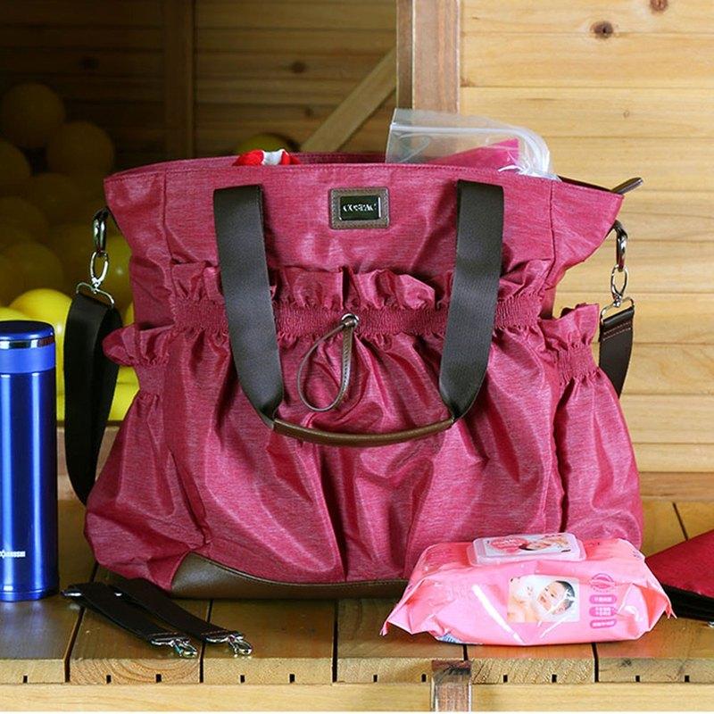 精選母親節禮物 紅色防潑水物料隨包附送尿布墊及嬰兒車掛帶多功能媽媽包