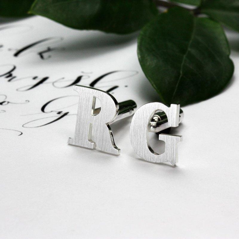 初始袖扣鈕扣--男士结婚袖扣 结婚袖扣 - 個性化袖扣刻有首字母
