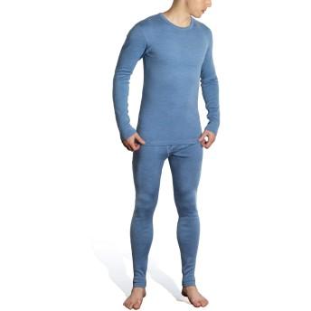 Sheep Run メンズ100%メリノウールサーマルミッドウェイトベースレイヤー上下パンツ防寒 インナー (L)