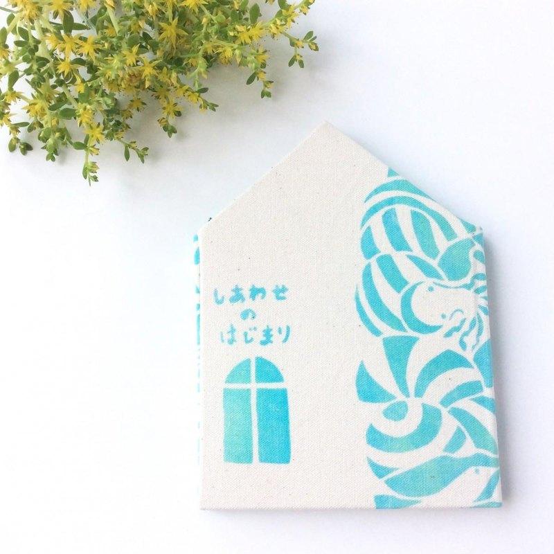 """模板染色筆記本""""開頭的幸福,海浪的聲音。"""""""