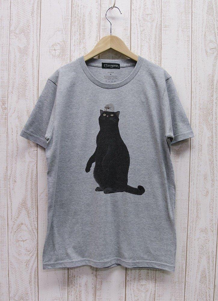 黑貓T卹刺猬麻灰色/ R019-T-GR