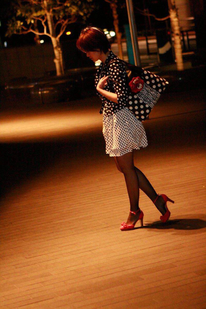 真皮手提包手提邊境波爾卡圓點與紅色的胸花可移動魔術小時黃昏黑色和白色單色