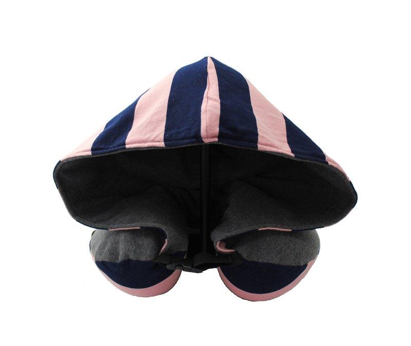 粉紅藍間條有帽記憶棉頸枕(附收納袋)