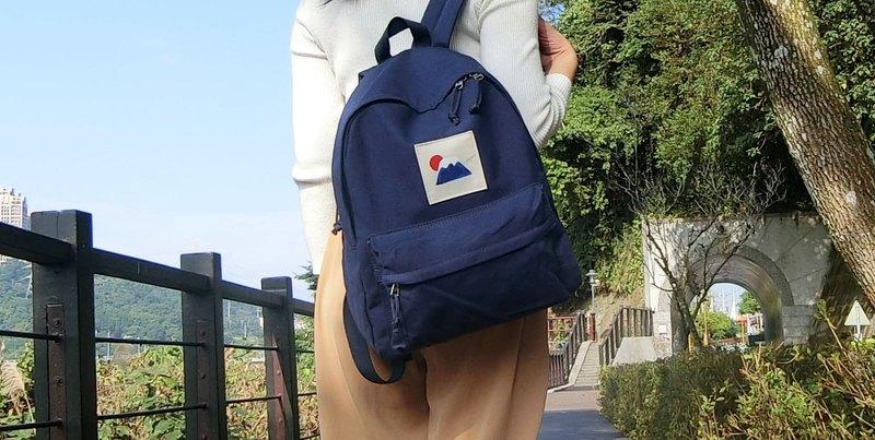 太陽富士山-帆布型染後背包 l 插畫雙肩包(多色可選)