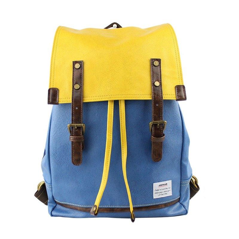 AMINAH-藍黃拼色後背包【am-0212】