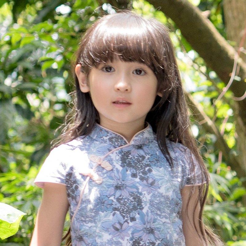 子立設計【全棉親膚】L'ANGELICA紫茵蓮華復古小旗袍