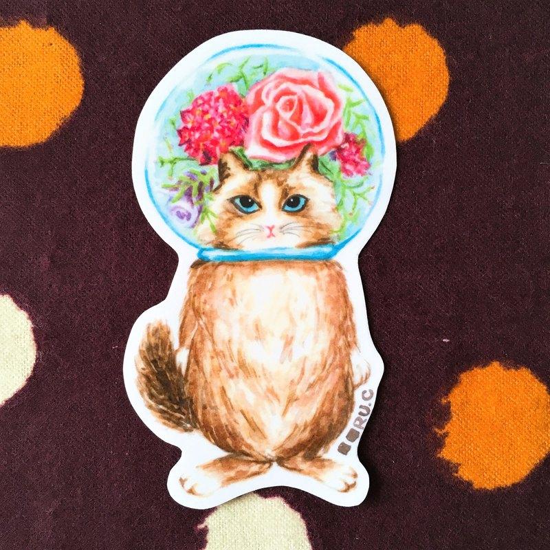 玻璃球貓 貴婦貓 膠面貼紙