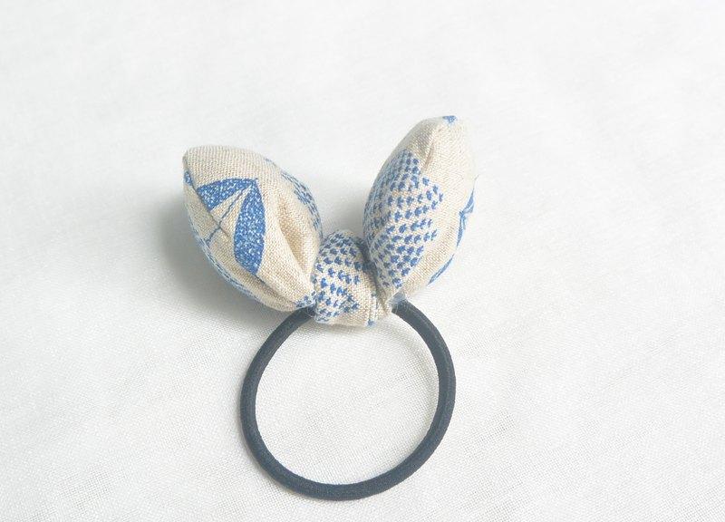 蝴蝶髮圈 - 藍花