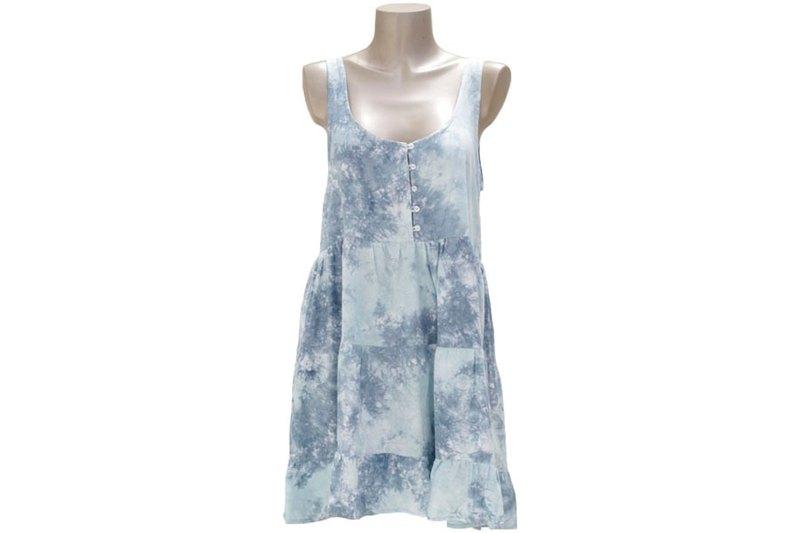 熱帶染色不均勻分層禮服<冰灰色>