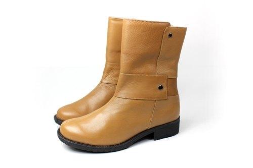 棕 對稱率性短靴