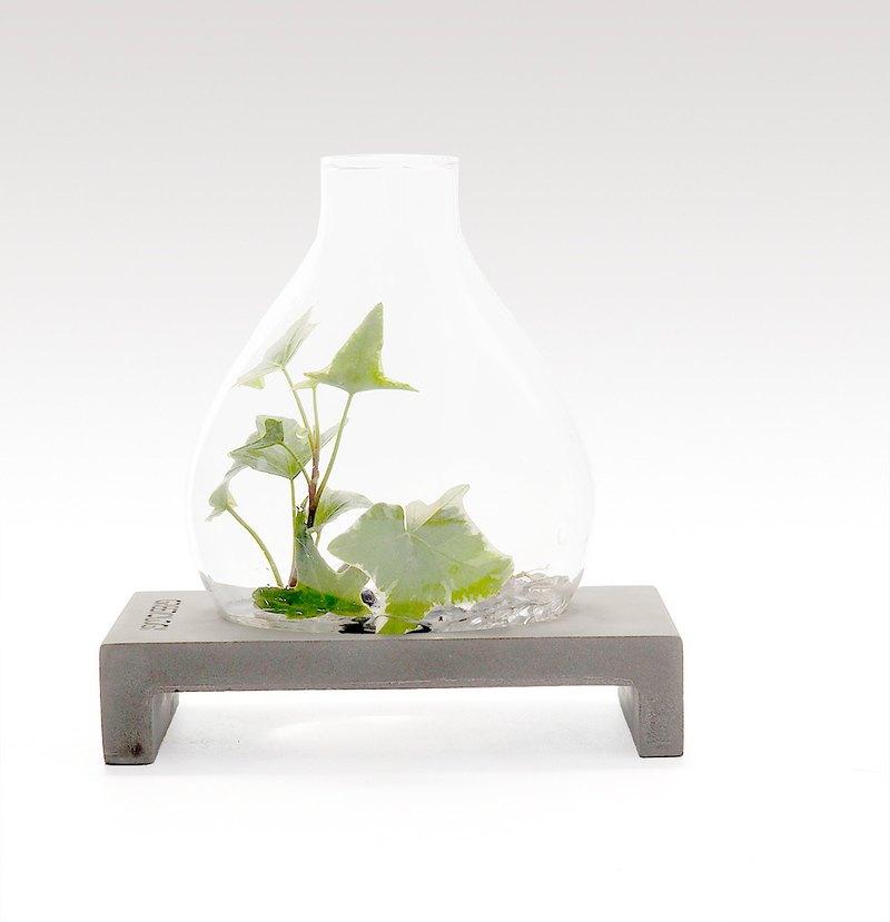 Greenology 梨形玻璃花瓶立水泥几