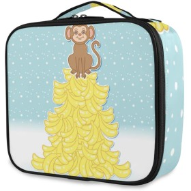 KAPANOU プロ用 メイクボックス ベクトルかわいい漫画猿バナナの丘 多機能 高品質 美容師 マニキュリスト 刺青師 専用 化粧ボックス メイクアップアーティスト 収納ケース メイクブラシ 化粧道具 大容量