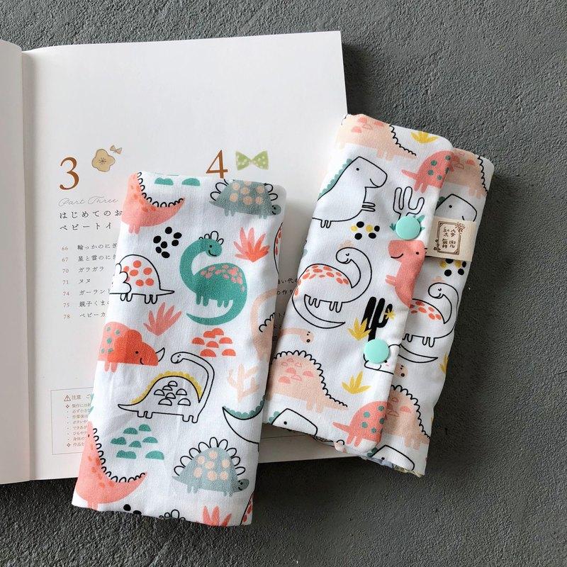 彩色恐龍 手工六層紗背巾用口水巾