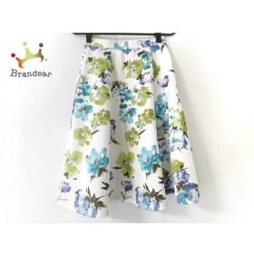 ジャスグリッティー JUSGLITTY スカート サイズ0 XS レディース 美品 白×ブルー×グリーン 花柄 新着 20191004