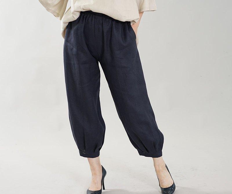 [Wafu]柔軟的亞麻褲子略微薄的下擺褶皺下裝瑜伽褲也/海軍b013a-neb1