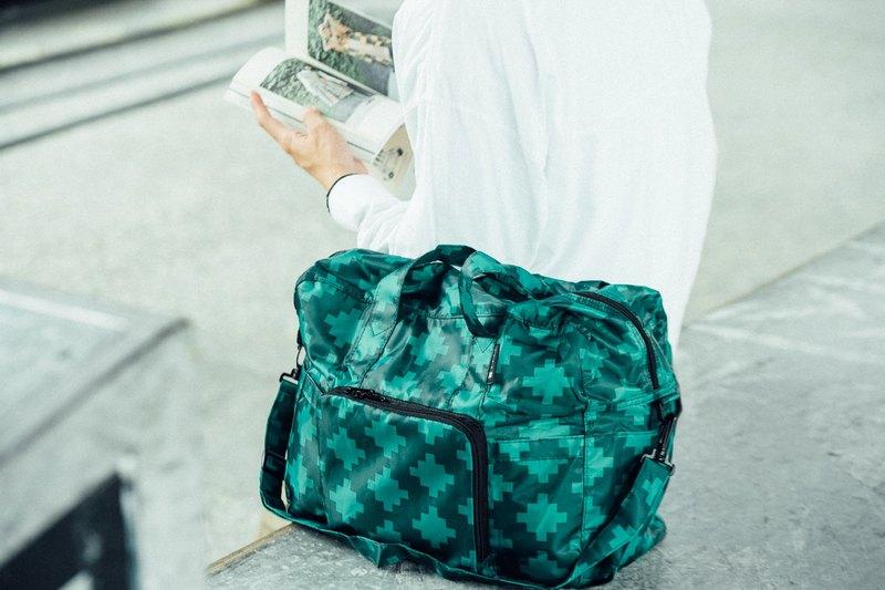 防潑水 香港品牌 可折疊 大容量手提旅行包 綠色圖案