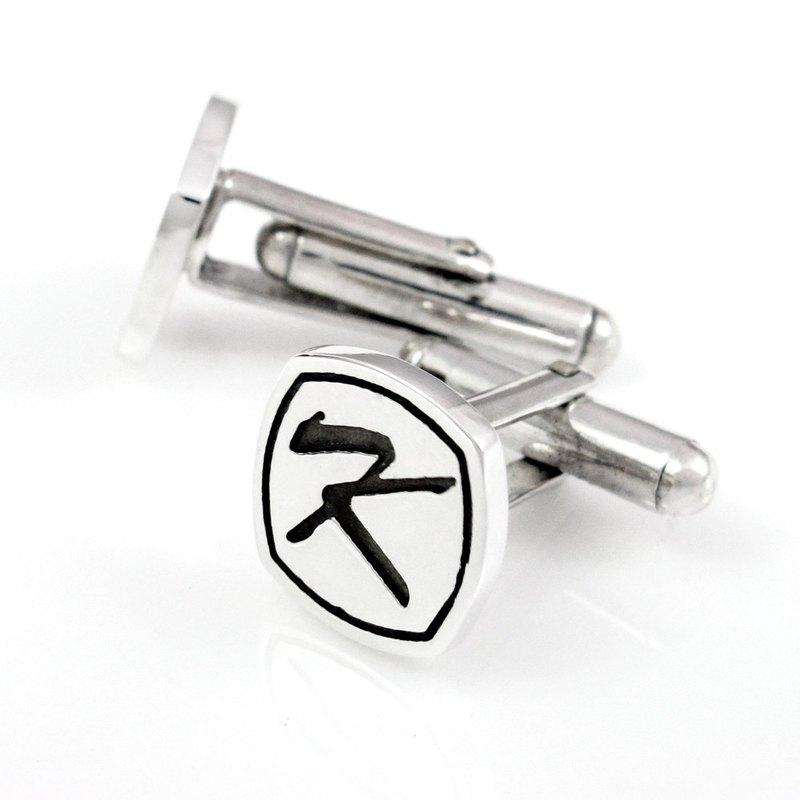 袖扣訂製 純銀袖扣姓名-方形陰刻款-64DESIGN銀飾訂製