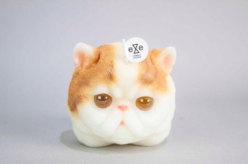 波斯貓造型蠟燭 - 黃白配色