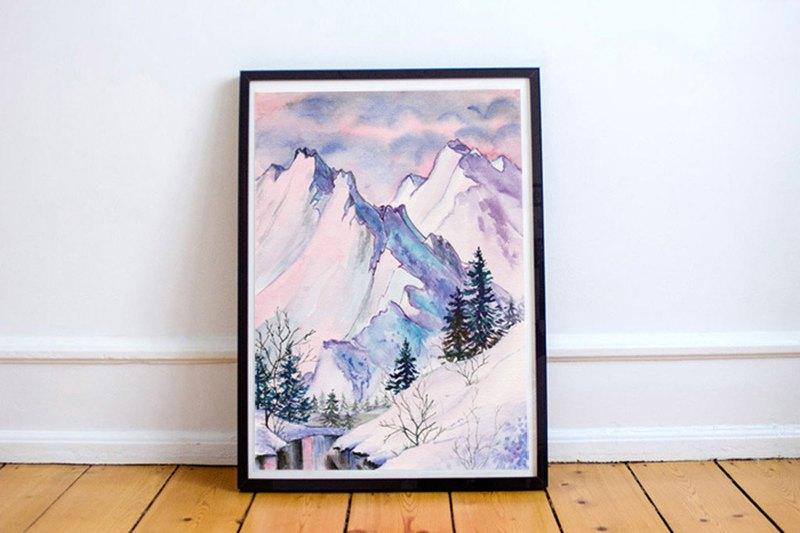 【冬日雪山】限量數位版畫 | 北歐英式客廳掛畫 | 沙發背景藝廊牆