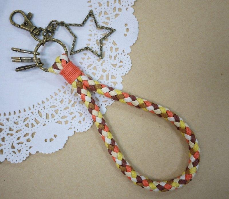 ~米+熊~ 復古 編織鑰匙圈 蠟線編織鑰匙圈 (橘色)