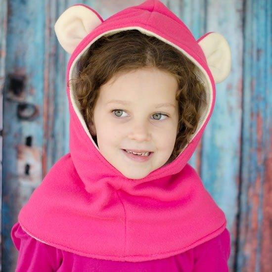 義大利Mondo Rotondo脖圍+連帽設計 小熊暖暖帽圍 粉色2-5歲