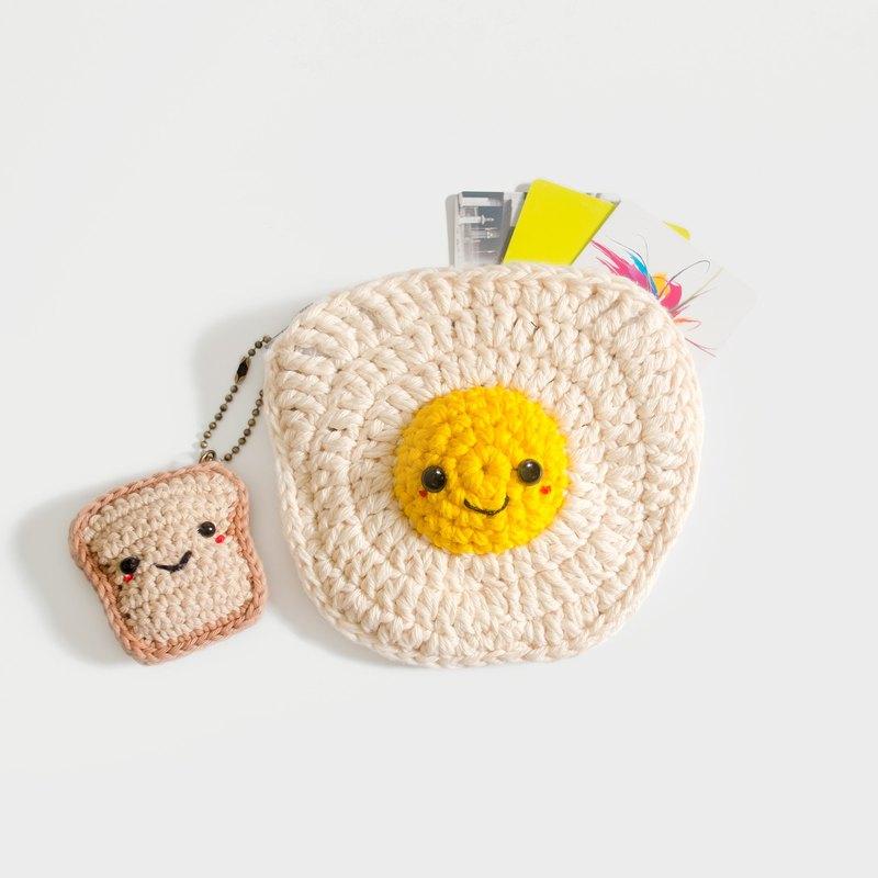 鉤針編織硬幣錢包煎蛋與麵包鑰匙扣