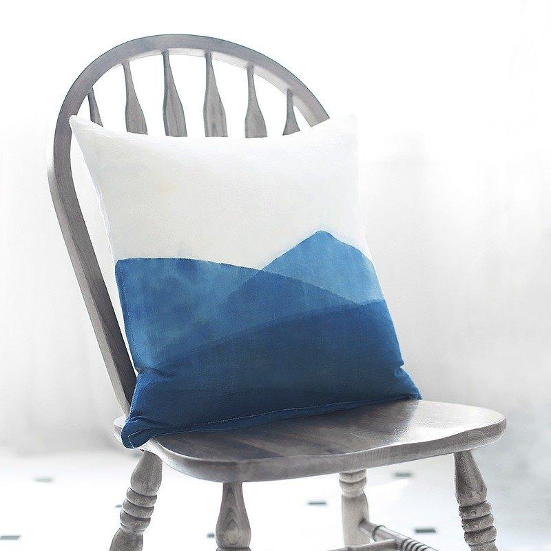 青山 單面圖案草木染藍染中式日式手工復古苧麻抱枕靠墊 聖誕禮物