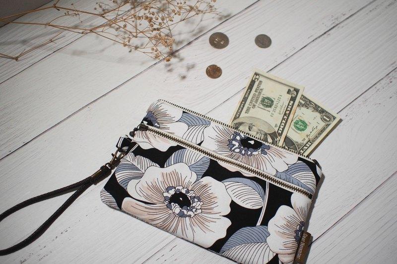 拾光系列手機袋/零錢包/限量手工包/黑色木槿花/預購中