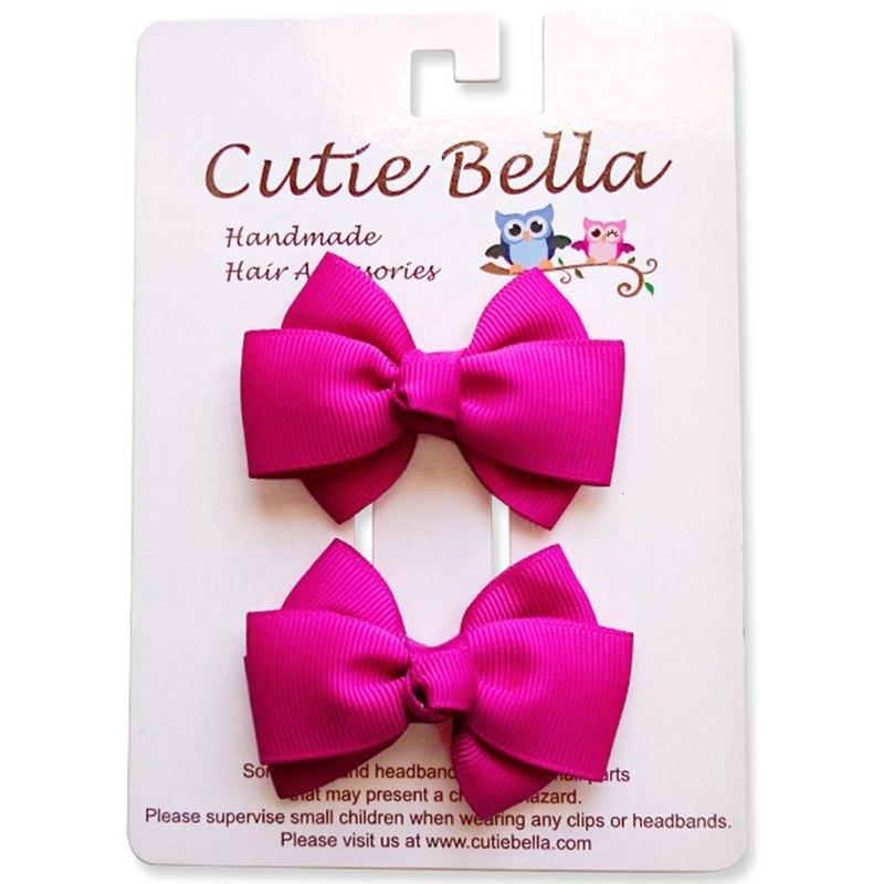 Cutie Bella 夢幻手工髮飾全包布 蝴蝶結髮夾二入組-Hot Pink