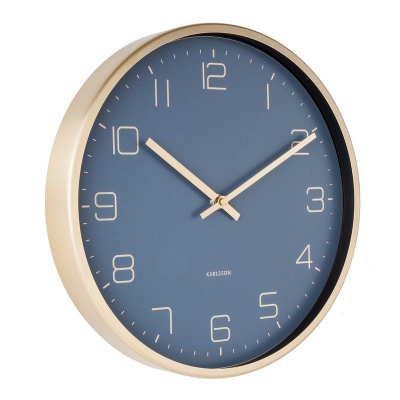 Karlsson 亮金框藍色掛鐘Wall clock Gold Elegance blue