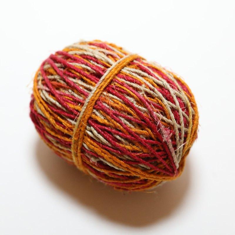 手捻麻線-緞染-紅黃白 公平貿易