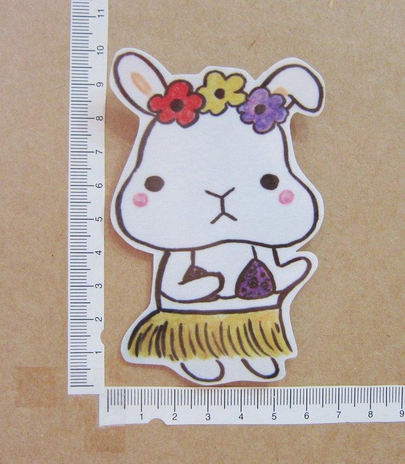 手繪插畫風格 完全 防水貼紙 草裙舞 夏威夷 白色兔子