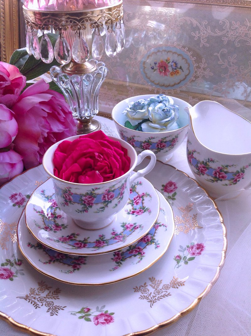 英國骨瓷粉紅玫瑰花束花茶杯咖啡杯兩件組浪漫下午茶情人節禮物