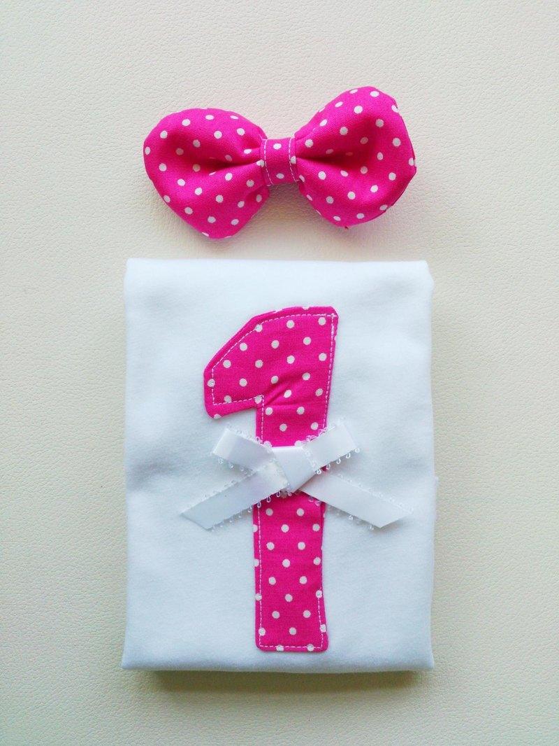 Oops!tutu - 小公主長袖棉T(含髮飾)【數字1-★芭比粉★】彌月生日禮盒-預購商品