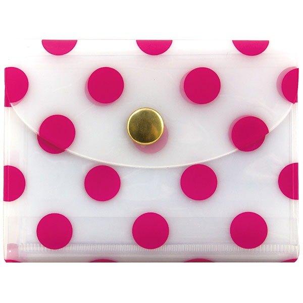 日本【LABCLIP】Neige 系列卡片收納夾_扣式/ 粉紅色#10個內袋#名片收納