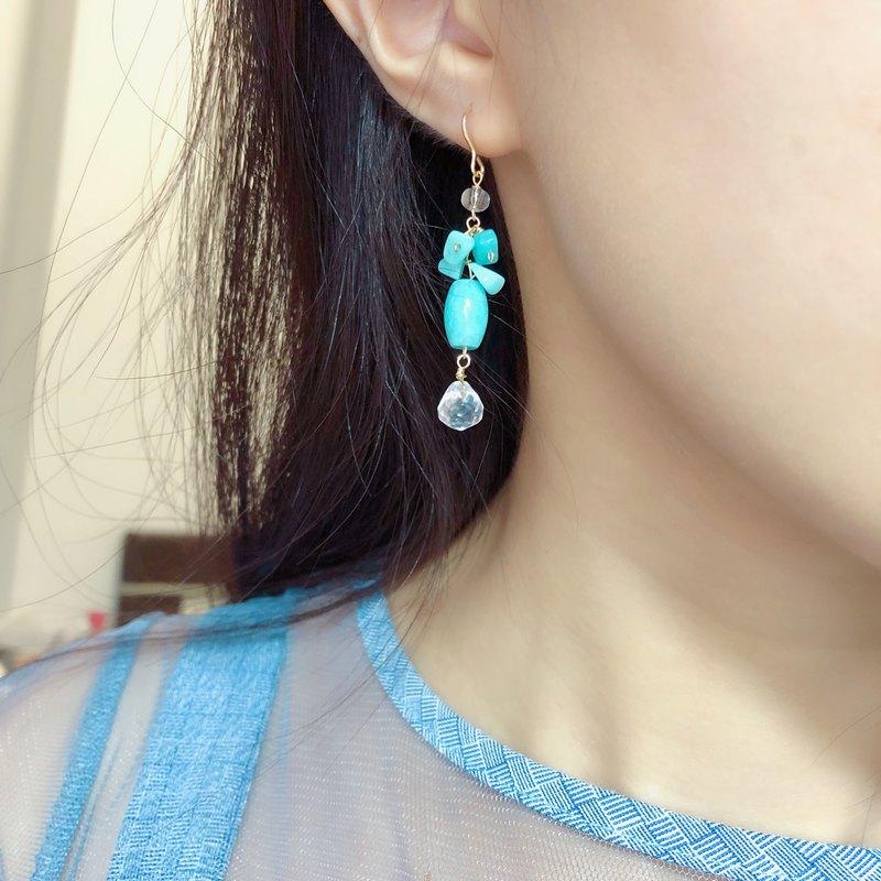 春 天河石白水晶耳環14KGF 禮物 清新可愛