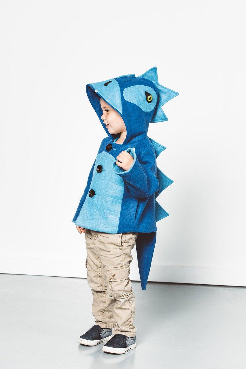 兒童藍色恐龍外套