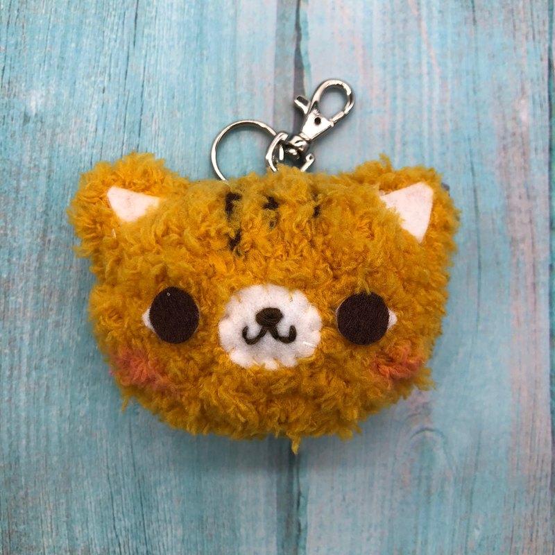 橘貓-胖嘟嘟毛線動物鑰匙圈吊飾