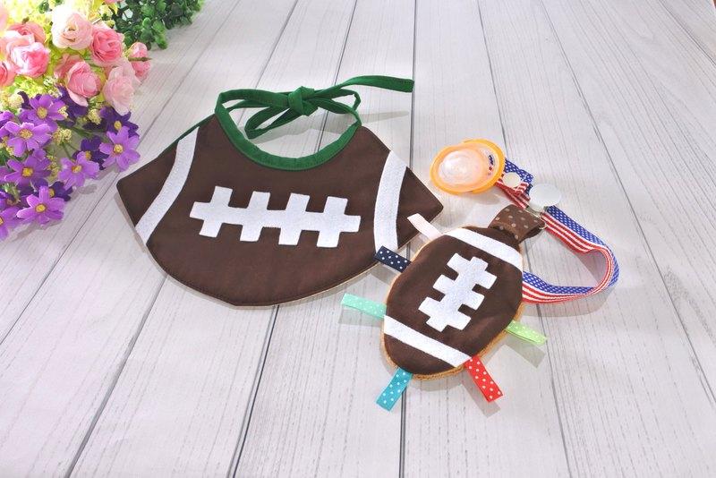 橄欖球造型圍兜套組 彌月禮物