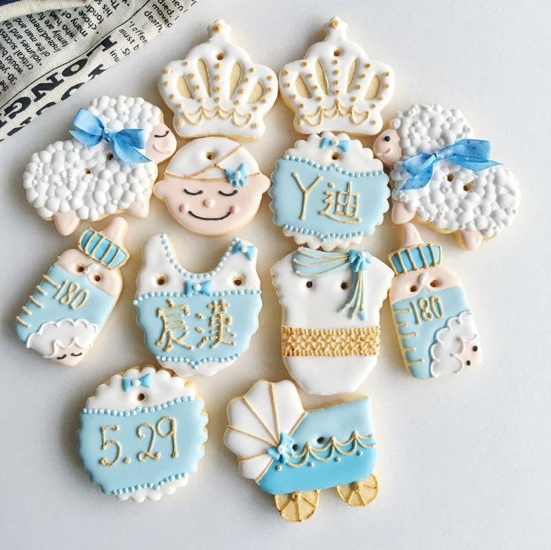 收涎糖霜餅乾 • Patrick 男寶寶款 純手工繪製創意設計禮盒12片組 **訂購前請先洽詢檔期**