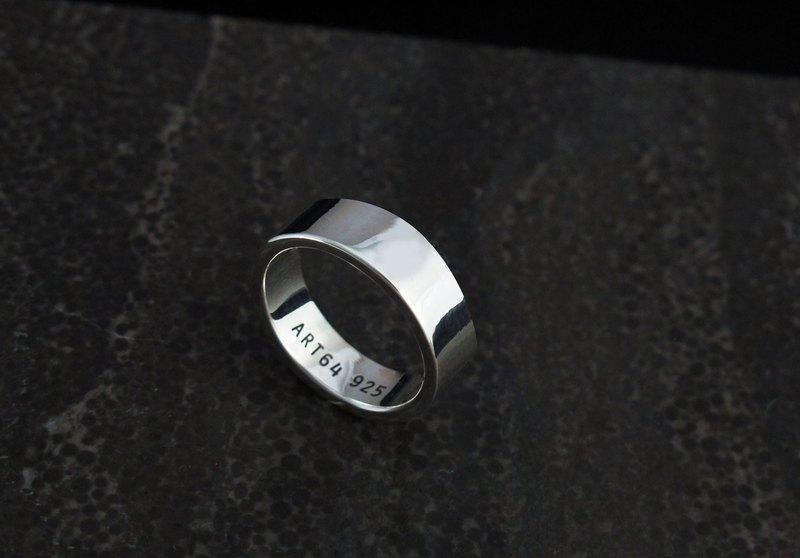 訂製戒指-手工厚版素戒 平面8mm 純銀戒指