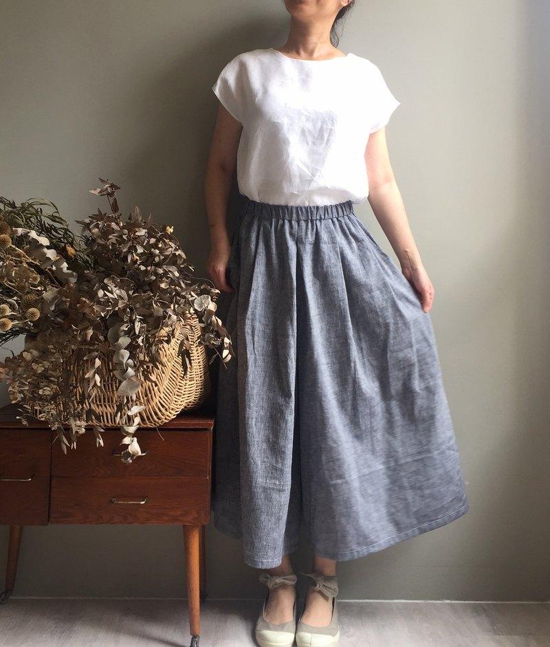 晨光森林*鐵灰色織亞麻 寬褲裙100%亞麻