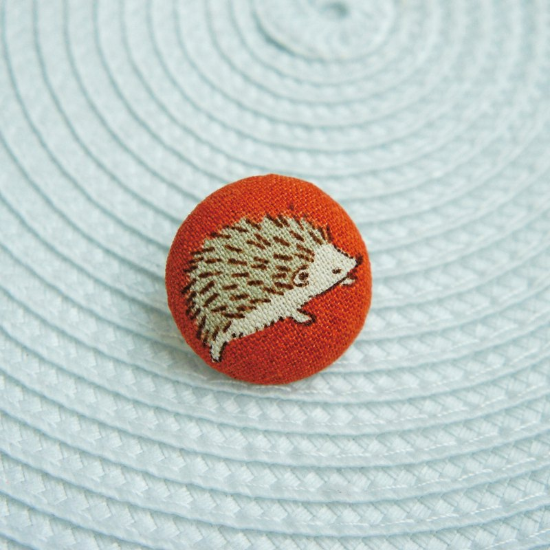 Lovely日本布【刺蝟走路別針】橘